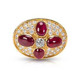 Estate Ruby & Diamond Pin 18KT Yellow Gold 8.44