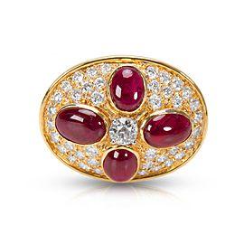Estate Ruby & Diamond Pin 18KT Yellow Gold 8.44