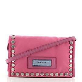 Prada Etiquette Flap Bag Studded Tessuto Mini