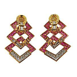 David Webb Diamond Ruby Rose Gold Platinum Earrings