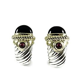 David Yurman Sterling Silver 14K Yellow Gold Black Onyx Carnelian Renaissance Torch Earrings