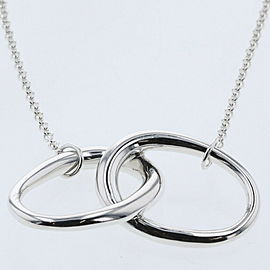 TIFFANY & Co. Silver Elsa Peretti Double Loop Necklace TBRK-607