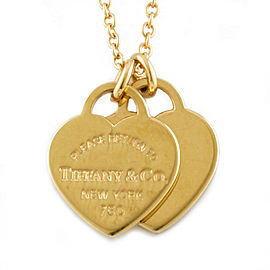 TIFFANY & Co. 18k yellow Gold Return to Heart Double Heart Mini Necklace