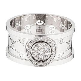 Gucci Icon Twirl Italy 18k White Gold Diamond Band Ring $2,450