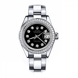 Rolex Black Baguette 36mm Datejust Stainless Steel Oyster Bracelet & Diamond Bezel - 2007 model