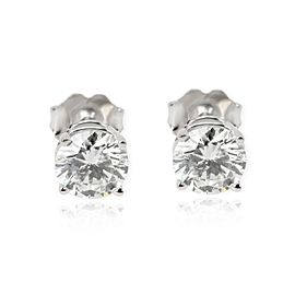 GIA Diamond Stud Earrings in 14K White Gold H VS1 1.49