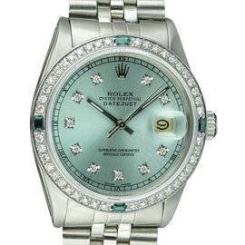 Rolex Datejust 16014 Stainless Steel / 18K White Gold with Sky Blue Diamond Dial Vintage 36mm Mens Watch
