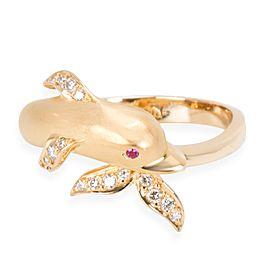 Carrera y Carrera Textured Dolphin Diamond Ring in 18K Yellow Gold 0.1 CTW