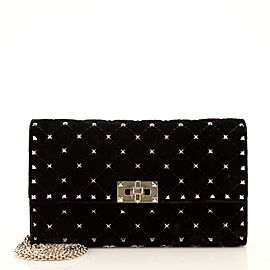 Valentino Rockstud Wallet On Chain Quilted Velvet Small