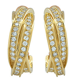 Cartier Trinity Hoop Earrings 18K Yellow Gold with 1.4ctw Diamond