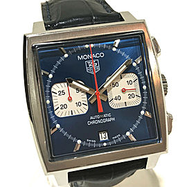 TAG HEUER CW2113-0 Monaco Stainlees Steel/Leather belt Chronograph Steve McQueen Wrist watch RSH-1149