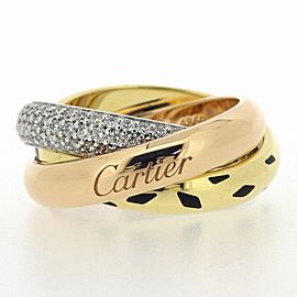 Cartier Trinity Ring Diamond Black Lacquer 18K Tri-Color Gold Size 4.75