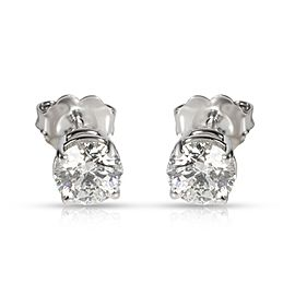 GIA Certified Diamond Stud Earring in 14K White Gold G-H VVS1VVS2 1.13 CTW