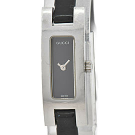 GUCCI 3900L Black Dial Stainless Steel/Leather Quartz Women's Watch
