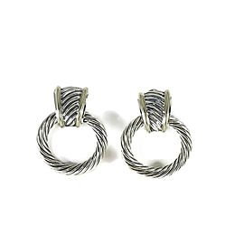 David Yurman Sterling Silver & 14K Yellow Gold Thoroughbred Cable Doorknocker Earrings