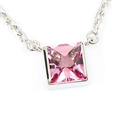 Cartier 18K White Gold, Pink Tourmaline Tank Necklace Pendant CHAT-108