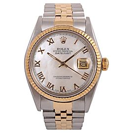 Rolex Datejust 18k Yellow Gold Stainless Steel White Mother Of Pearl Roman Dial Mens Watch 36mm