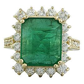 6.91 Carat Emerald 14K Yellow Gold Diamond Ring