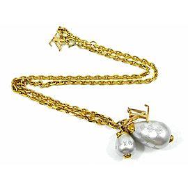 Louis Vuitton Gold-tone Fake Pearls Pendentif Damier Pendant Necklace