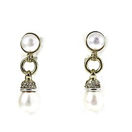 Lagos Sterling Silver 18K Yellow Gold .39tcw Circle Game Pearl Drop Diamond Earrings