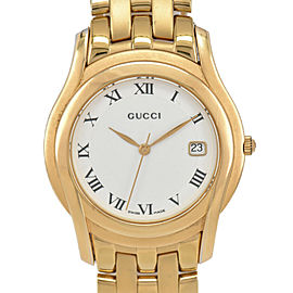 GUCCI 5400M White Dial Gold Plated Quartz Men's Watch