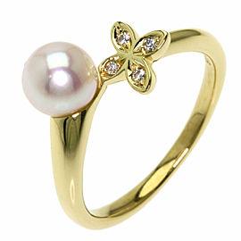 MIKIMOTO 18K Yellow Gold Akoya Pearl Pearl Diamond Ring