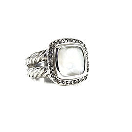 David Yurman Split Shank Albion Ring Sterling Silver Mother of Pearl Diamond Size 6