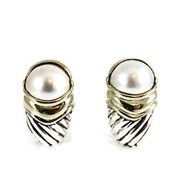 David Yurman Sterling Silver 18K Yellow Gold Large Mabe Pearl Capri Earrings
