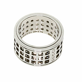GUCCI 18K White Gold Scroll wide Ring
