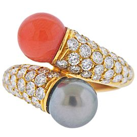 Van Cleef & Arpels France Coral Pearl Diamond Gold Bypass Ring