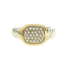 David Yurman 925 Sterling Silver & 18K Yellow Gold 0.30ct Diamond Ring Size 5.5