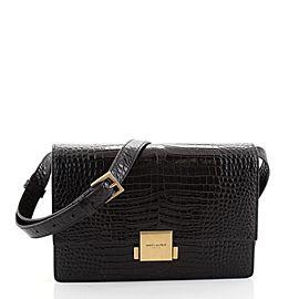 Saint Laurent Bellechasse Shoulder Bag Crocodile Embossed Leather Medium