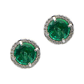 18K White Gold Green Emerald with Halo Studs
