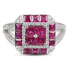 Greg Ruth 18K White Gold 0.34ctw Diamond & 1.87ctw Ruby Ring Size 6.5