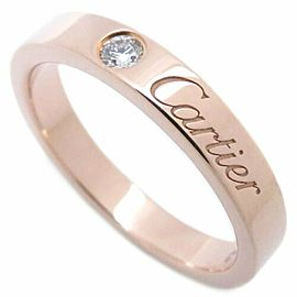 CARTIER 18K Pink Gold Diamond Cartier Engraved Ring