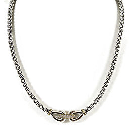 """Lagos Sterling Silver 18K Yellow Gold .11tcw 16"""" Derby Caviar Diamond Necklace"""