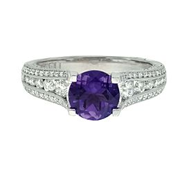 Tacori 18K White Gold Amethyst 0.71ctw Diamond Ring Size 6.5