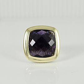 David Yurman Sterling Silver 18K Yellow Gold 20mm Amethyst New Albion Ring