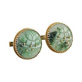 Cellino 18K & 14K Yellow Gold Imperial Jade Vintage Cufflinks