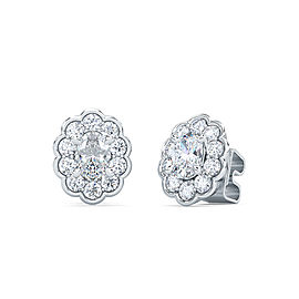 0.50 Ct Oval Shape Lab-Grown Diamond Halo Earrings set in 14K White Gold