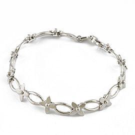LOUIS VUITTON 18K white gold flour Bra Rubberd Charm Do Mono Bracelet CHAT-725