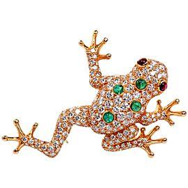 Oscar Heyman Diamond & Ruby Frog 18K Yellow Gold Pin Brooch