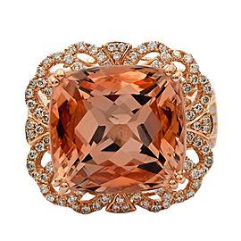 14K Rose Gold Morganite Diamond Ring Size 7.5