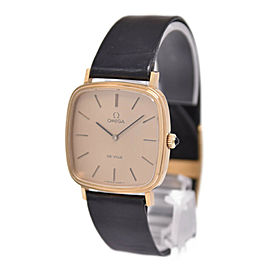OMEGA gold Plated/Leather de vill square gold Dial Watch HK-2267