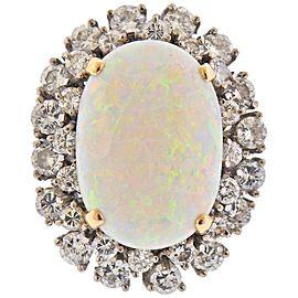 13.5 Carat Opal Diamond Gold Ring