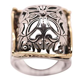 Silver with 18k Gold Turkish Signet Filigree Ring