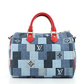 Louis Vuitton Speedy Bandouliere Bag Damier and Monogram Patchwork Denim 30