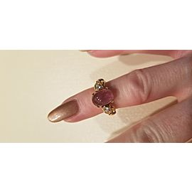 Bulgari 18K Yellow Gold Pink Tourmaline Diamond Ring Size 4.5