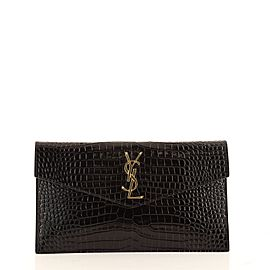 Saint Laurent Uptown Pouch Crocodile Embossed Leather