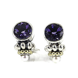 Lagos Sterling Silver and 18K Yellow Gold Amethyst with Pearl Caviar Earrings